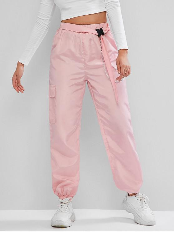 women's ZAFUL Chains Pocket Buckle Belt Windbreaker Jogger Pants - PIG PINK M