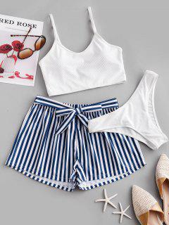 ZAFUL Ribbed Cami Bikini Swimsuit With Striped Board Shorts - White L