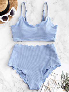 ZAFUL Mailot De Bain Bikini Texturé Festonné à Taille Haute - Bleu De Jean M