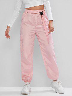 ZAFUL Chains Pocket Buckle Belt Windbreaker Jogger Pants - Pig Pink S