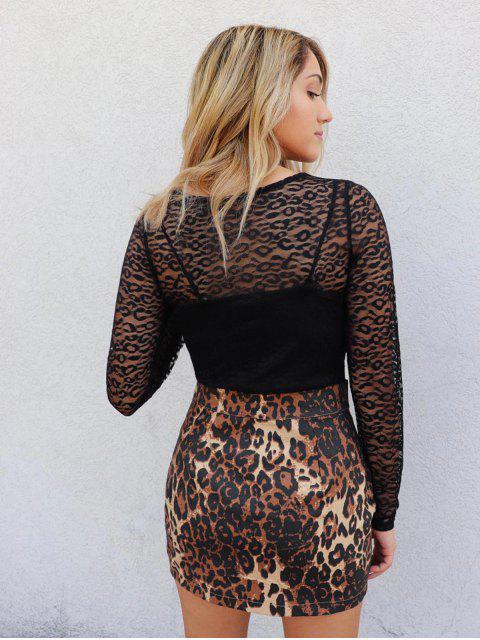 lady ZAFUL x Yasmine Bateman Long Sleeve See Thru Lace Top - BLACK S Mobile