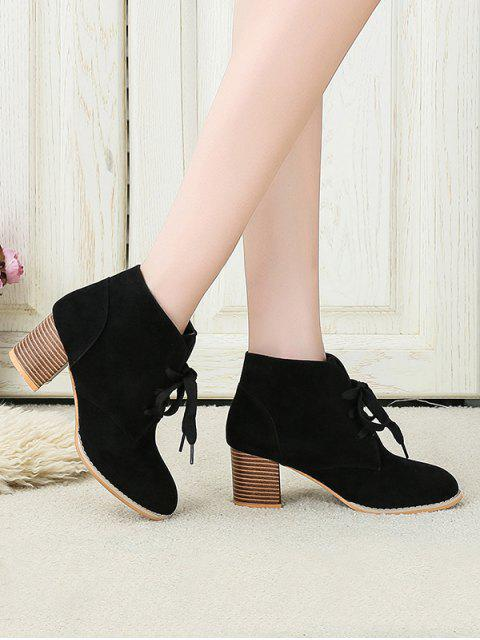 buy Chunky Heel Lace-up Decorated Boots - BLACK EU 39 Mobile