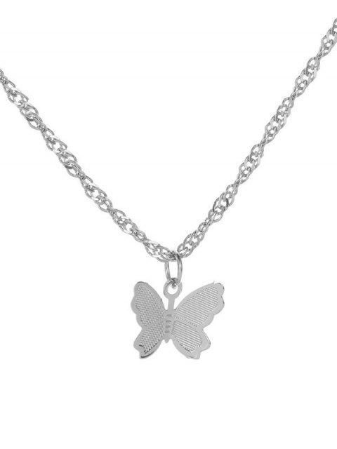 Подвеска-бабочка Металл Цепь Ожерелье - Серебристый  Mobile