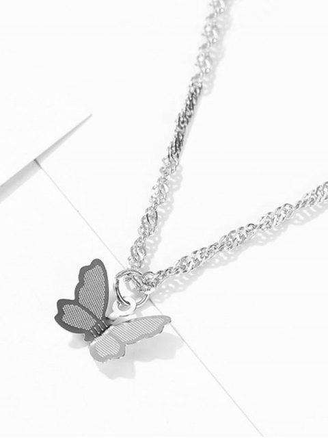 Collier à Chaîne Papillon Pendant en Métal - Argent  Mobile