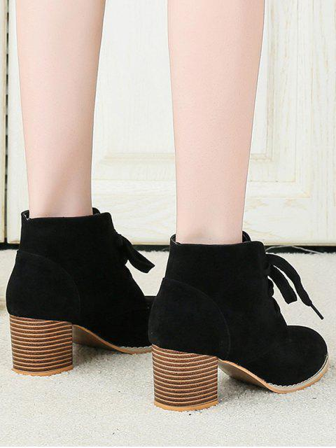 fancy Chunky Heel Lace-up Decorated Boots - BLACK EU 43 Mobile