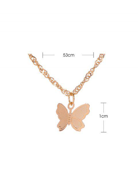 best Butterfly Pendant Chain Metal Necklace - GOLD  Mobile