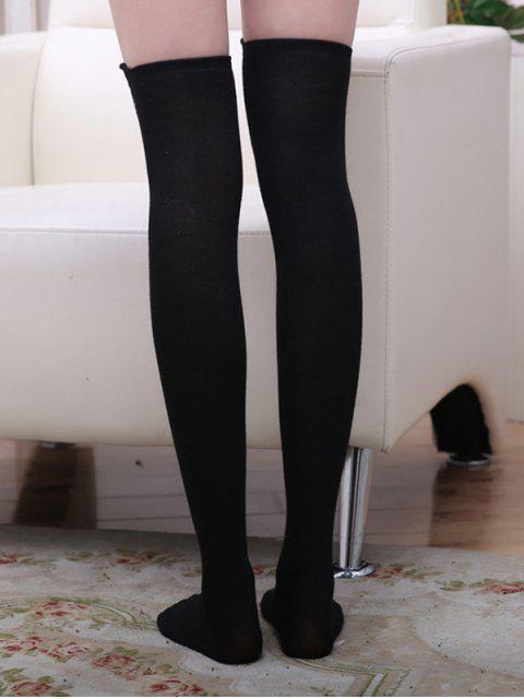 affordable Cat Panda Cartoon Over Knee Socks - BLACK  Mobile