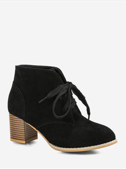 outfit Chunky Heel Lace-up Decorated Boots - BLACK EU 36 Mobile