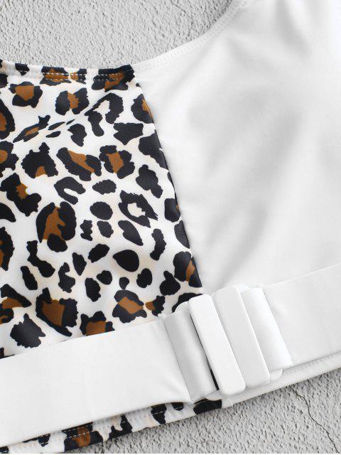 Bañador Tankini con contraste y estampado animal Leopard ZAFUL - Blanco S Mobile