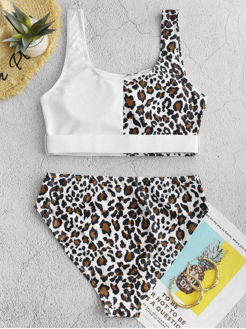 Bañador Tankini con contraste y estampado animal Leopard ZAFUL - Blanco XL Mobile
