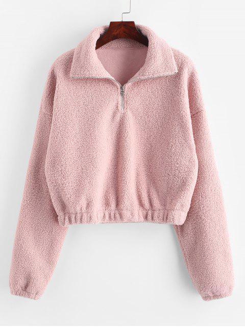 new Half Zip Plain Faux Fur Sweatshirt - PINK L Mobile