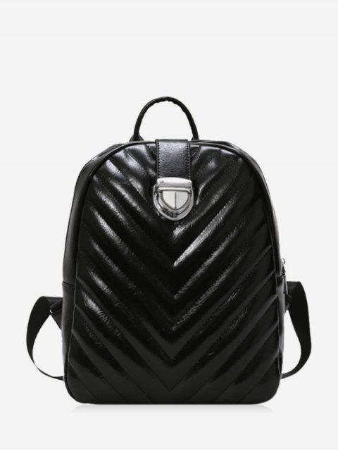 trendy Student Rhombic Embroidery Line Travel Backpack - BLACK  Mobile