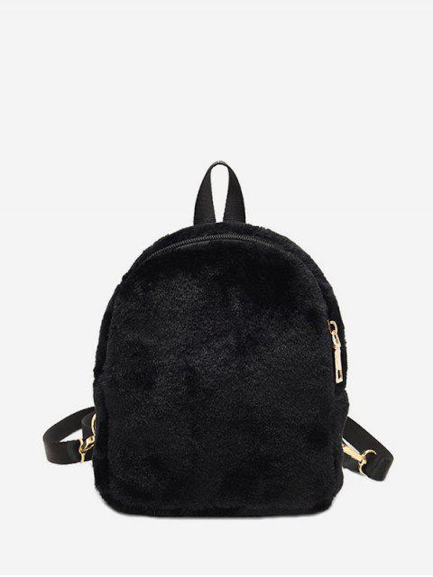 outfit Solid Faux Fur Mini Teddy Backpack - BLACK  Mobile