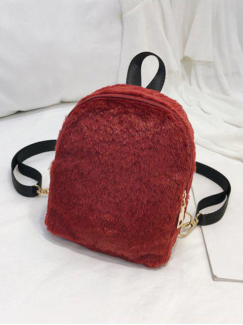 hot Solid Faux Fur Mini Teddy Backpack - RED WINE  Mobile