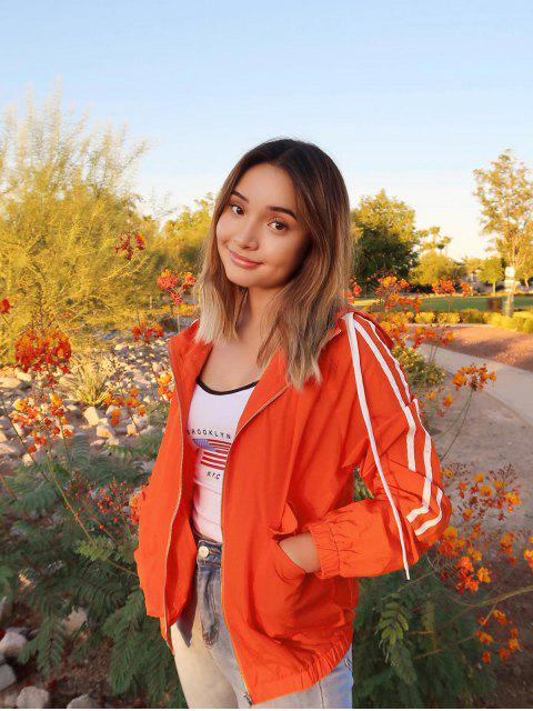 affordable ZAFUL x Alexis Ricecakes Side Striped Zip Up Hooded Jacket - PUMPKIN ORANGE L Mobile