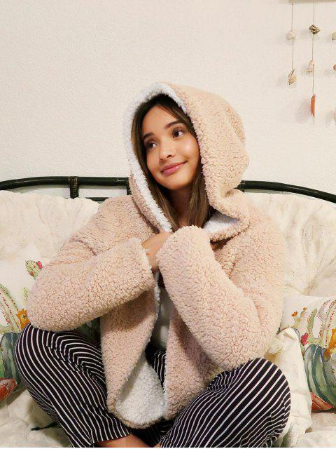 new ZAFUL x Alexis Ricecakes Hooded Reversible Teddy Coat - WARM WHITE L Mobile