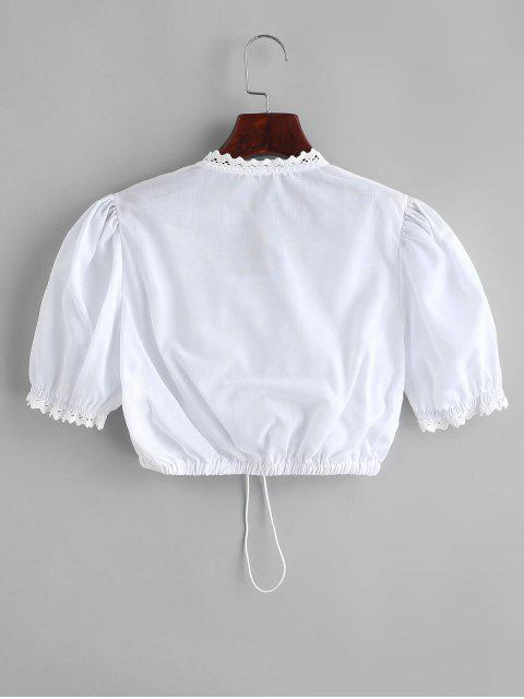 women's Cropped Crochet Trim Cinched Front Blouse - WHITE XL Mobile