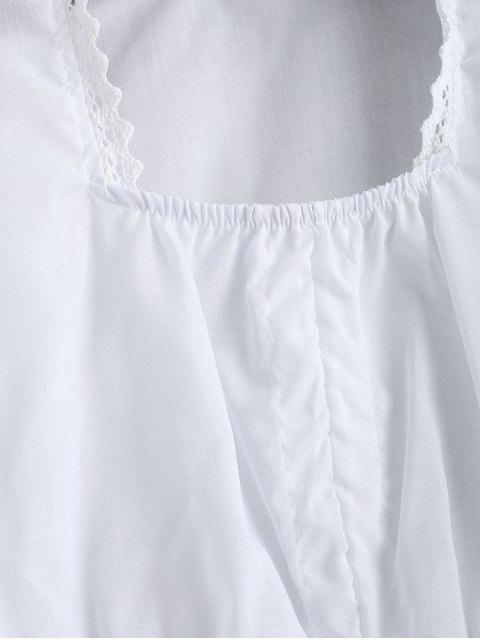 lady Cropped Crochet Trim Cinched Front Blouse - WHITE M Mobile