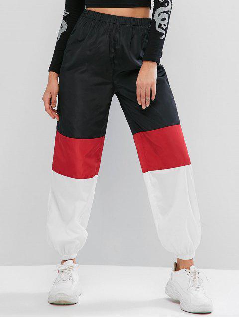 Pantalones de chándal de cintura alta rompevientos con bloqueo de color ZAFUL - Multicolor-A L Mobile