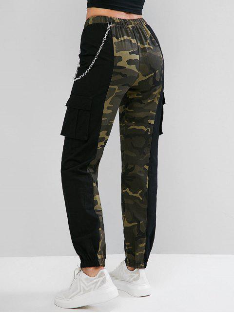 Pantalones jogger de bolsillo con cadenas de camuflaje ZAFUL - Multicolor-A L Mobile