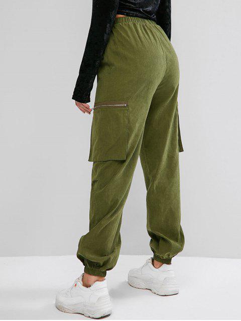 Pantalones jogger de cintura alta con bolsillo con cremallera ZAFUL - Verde Camuflaje M Mobile