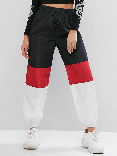 Pantalones de chándal de cintura alta rompevientos con bloqueo de color ZAFUL - Multicolor-A XL Mobile