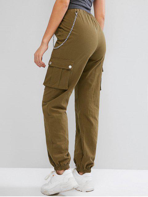 Pantalones jogger de bolsillo con cadenas ZAFUL - Ejercito Verde M Mobile