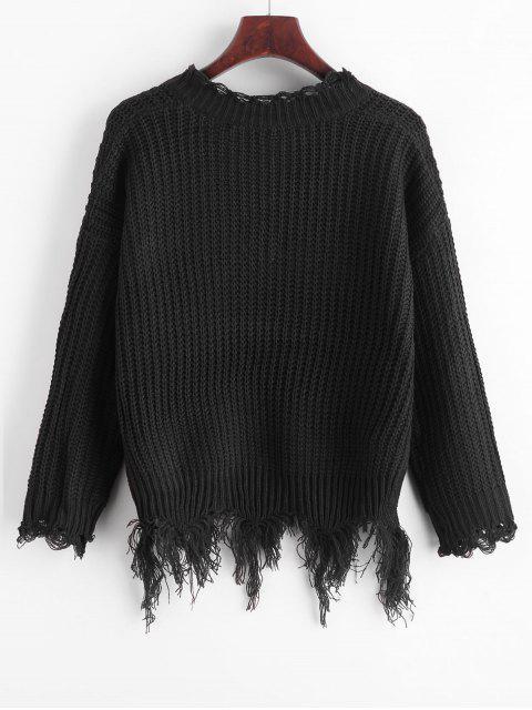Suéter con cuello en V y hombros descubiertos - Negro Talla única Mobile