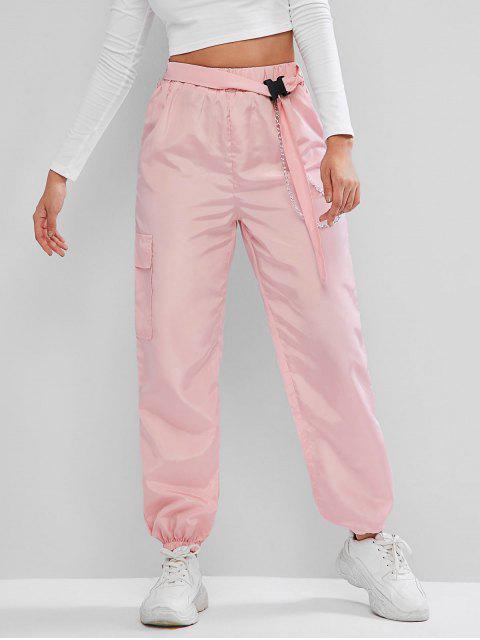 ZAFUL Chains Pocket Hebilla de cinturón Pantalones rompevientos Jogger - Cerdo Rosa S Mobile