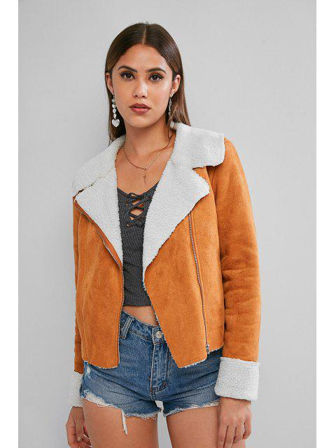 shops ZAFUL Zip Up Cuffed Sleeve Faux Shearling Suede Jacket - CARAMEL S Mobile