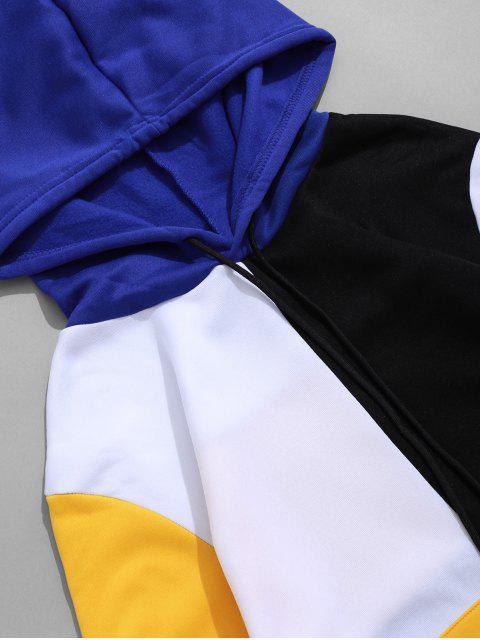 Sweat à Capuche en Blocs de Couleurs avec Poche Kangourou à Cordon - Blanc XS Mobile