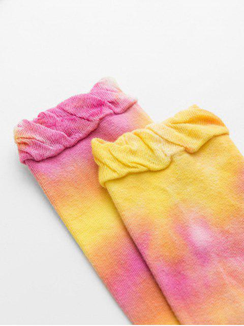 online Sports Ruffle Tie Dyed Crew Length Socks - YELLOW  Mobile