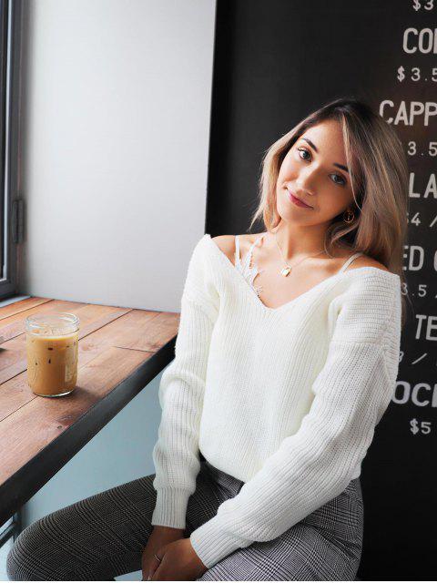 womens ZAFUL x Yasmine Bateman Twisted Plunging Drop Shoulder Jumper Sweater - WHITE S Mobile