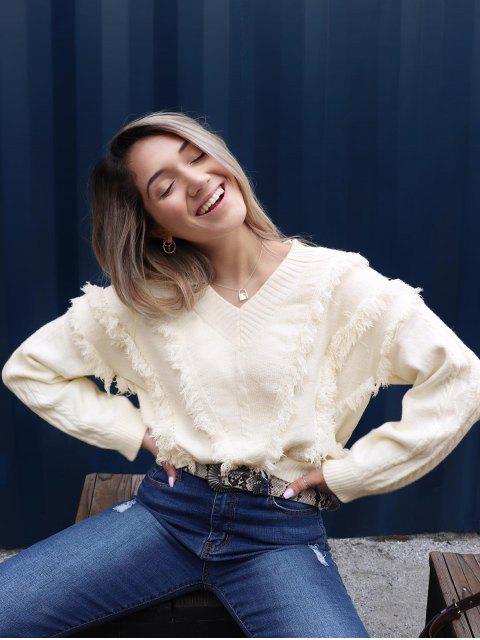 hot ZAFUL x Yasmine Bateman V Neck Drop Shoulder Fringe Sweater - WARM WHITE S Mobile