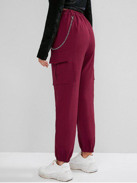 Pantalones de chándal con cadena y bolsillos con solapa - Vino Tinto S Mobile