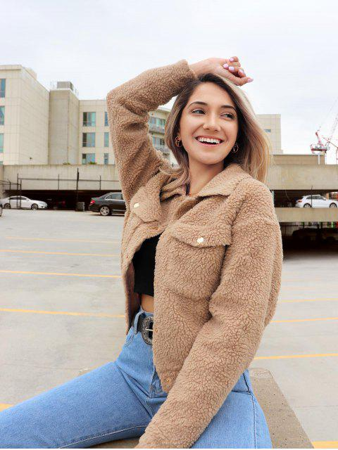 women's ZAFUL x Yasmine Bateman Snap Button Pockets Faux Fur Jacket - CHAMPAGNE GOLD L Mobile