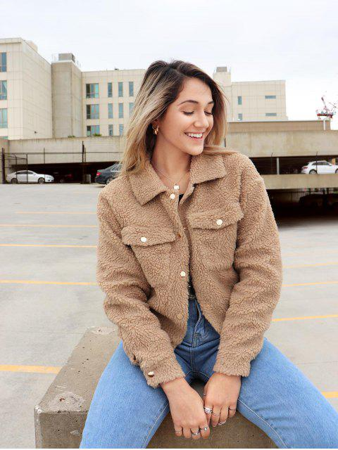 shops ZAFUL x Yasmine Bateman Snap Button Pockets Faux Fur Jacket - CHAMPAGNE GOLD XL Mobile