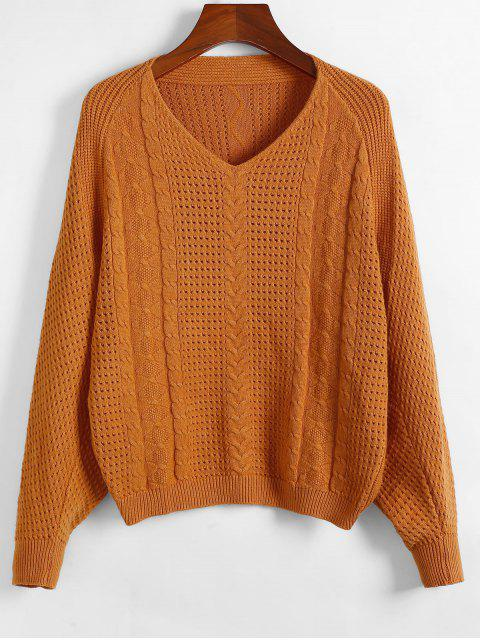 fashion ZAFUL x Yasmine Bateman Dolman Sleeves V Neck Solid Open Knit Sweater - LIGHT BROWN S Mobile