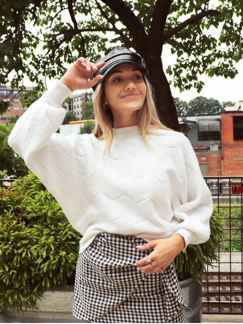 affordable ZAFUL x Yasmine Bateman Lantern Sleeves Crew Neck Solid Sweater - MILK WHITE L Mobile