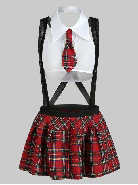 latest Plaid Suspender Schoolgirl Lingerie Costume - WHITE S Mobile