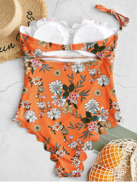 online ZAFUL Scalloped Floral Bandeau One-piece Swimsuit - MANGO ORANGE M Mobile