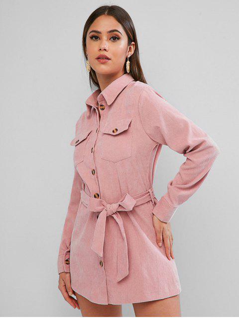 Robe Chemise Manches Longues avec Poche à Rabat en Velours - Rose Rosé L Mobile