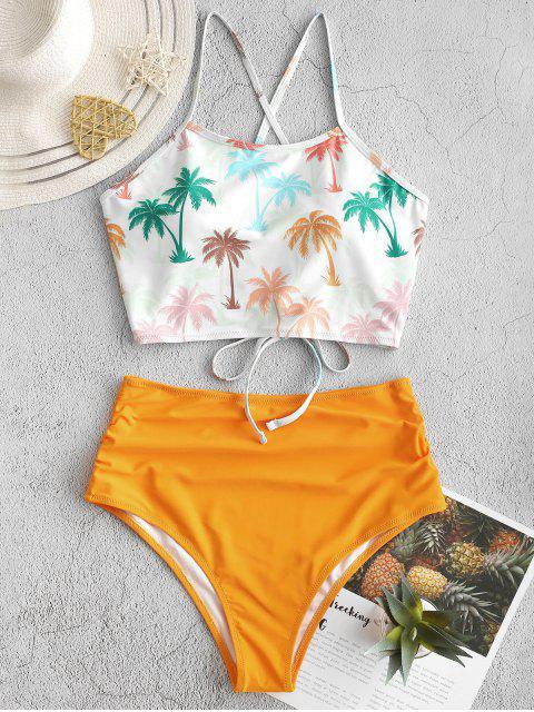 ZAFUL palma de coco cordón de la panza de control de Tankini del traje de baño - Multicolor-A M Mobile