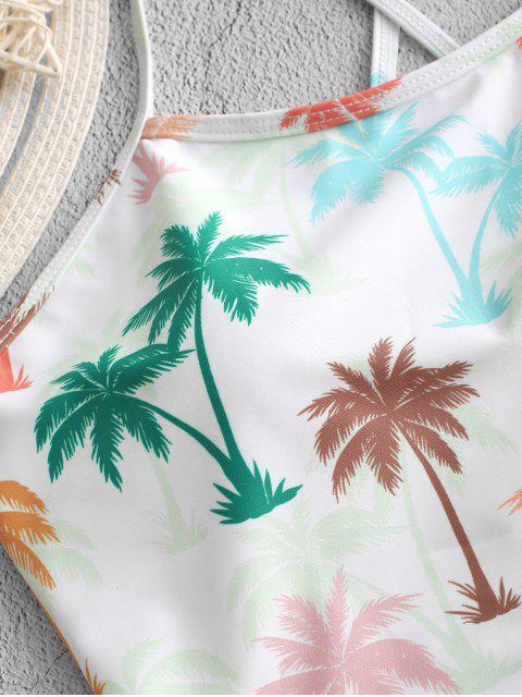 ZAFUL palma de coco cordón de la panza de control de Tankini del traje de baño - Multicolor-A S Mobile