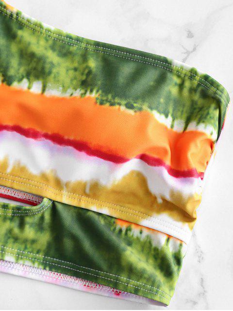 ZAFUL teñido anudado del nudo acanalada de un hombro traje de baño de Tankini - Multicolor-A XL Mobile