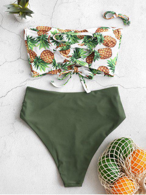 ZAFUL piña con cordones acanalado Bandeau del traje de baño de Tankini - Verde Camuflaje S Mobile