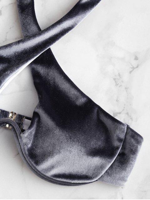 outfits ZAFUL Halter Crossover Underwire Velvet Bikini Swimsuit - BATTLESHIP GRAY S Mobile