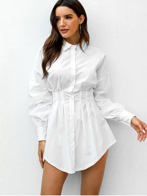 Robe Chemise Boutonnée Taille à Volants à Manches Longues - Blanc S Mobile