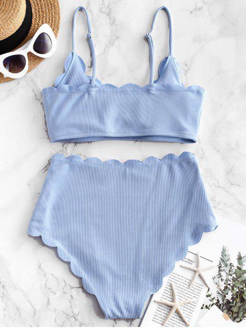 ZAFUL Mailot de Bain Bikini Texturé Festonné à Taille Haute - Bleu de Jean M Mobile