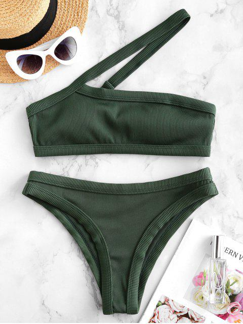 shops ZAFUL One Shoulder Textured Ribbed Bikini Swimsuit - DEEP GREEN M Mobile
